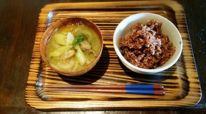 酵素玄米1日目と味噌汁